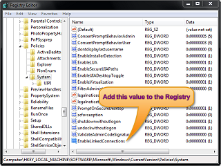 The value EnableLinkedConnections in the registry