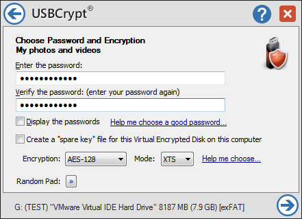 Click to view USB Encryption Software USBCrypt 10.3 screenshot