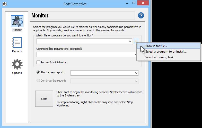 Choosing the program to monitor