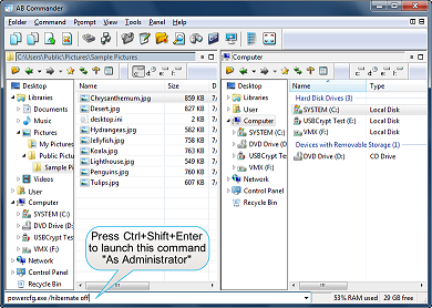 Press Ctrl+Shift+Enter to run a command As Administrator with AB Commander