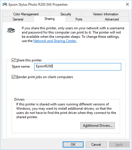 change network printer name windows 10