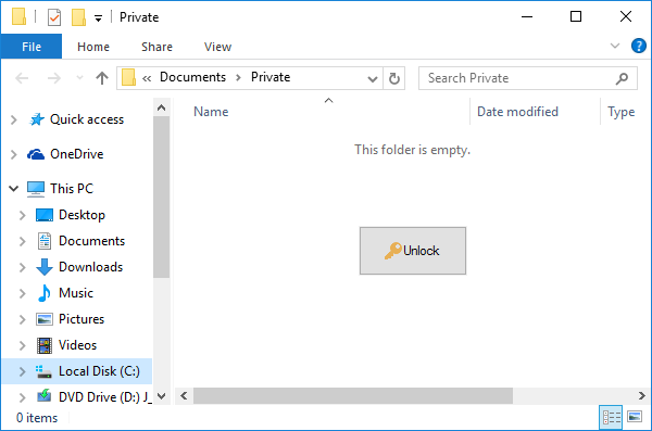 The Unlock button lets you unlock the password-protected folder