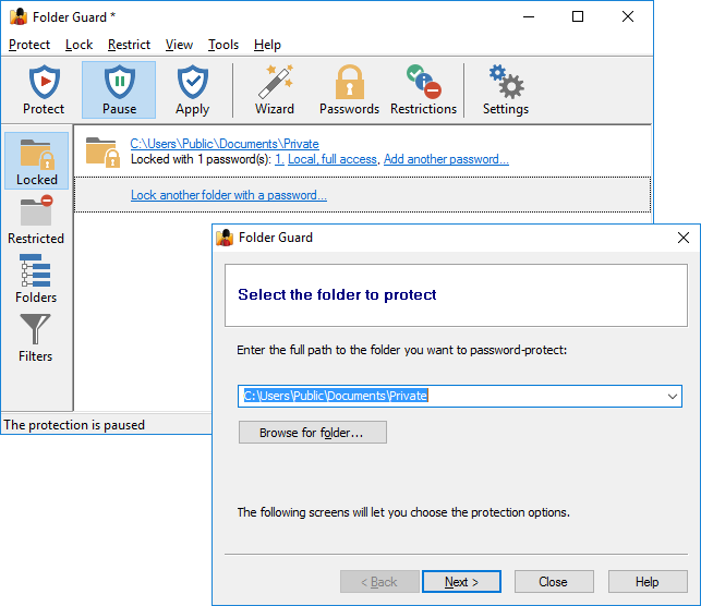 Use Folder Guard to protect folders with passwords
