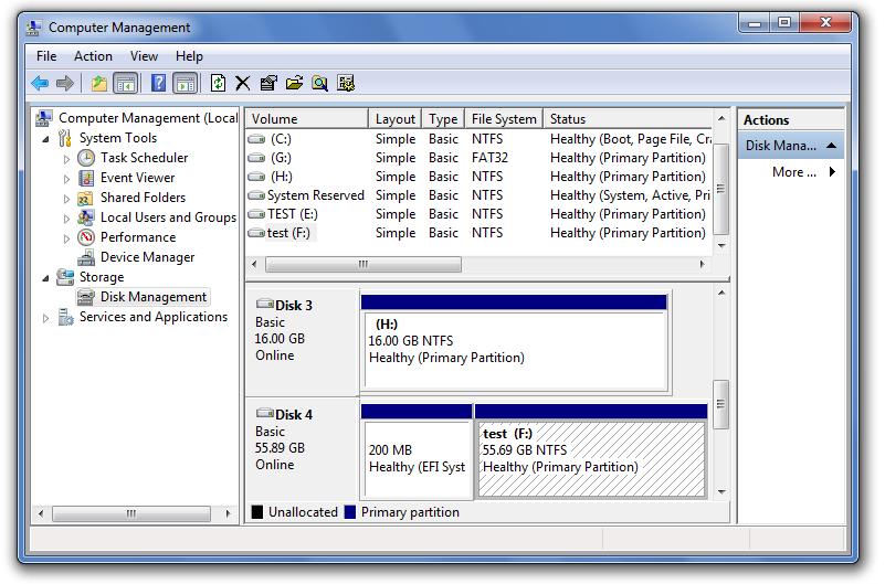 Windows 7 Computer Management console