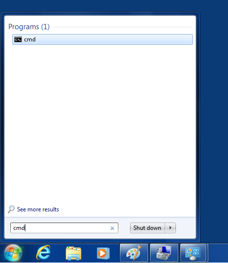 Locating the command line prompt using the Start menu