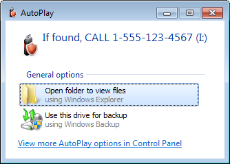 The message appears when someone plugs the drive in the computer