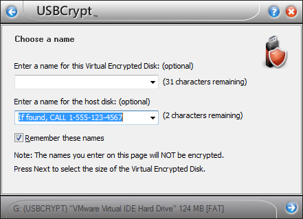 The message to the founder as the host disk name