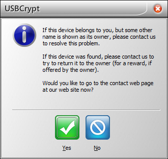 The built-in message when unlocking the encrypted drive