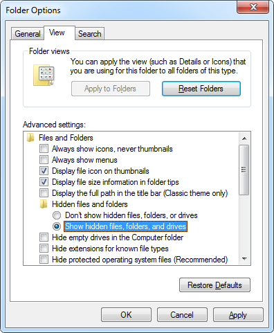 Make Windows display the hidden files and folders