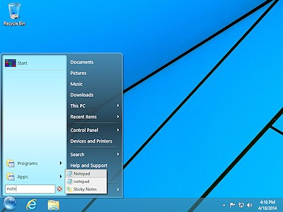 The Search box on StartFinity Start Menu for Windows 8.