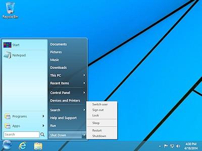 StartFinity Start Menu for Windows 8 comes with a shutdown menu.