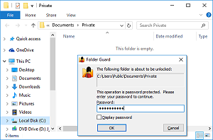 Folder Guard restricts access to the password-protected folders