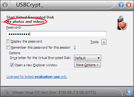 Starting a Virtual Encrypted Disk