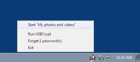 The Virtual Encrypted Disk menu