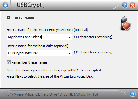 Choosing the encrypted drive name
