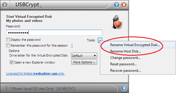 Changing the Virtual Encrypted Disk and Host Disk names